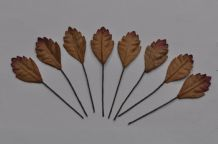 BROWN COOPER OBOVATE SERRATED LEAVES (16mm) Mulberry Paper leaves
